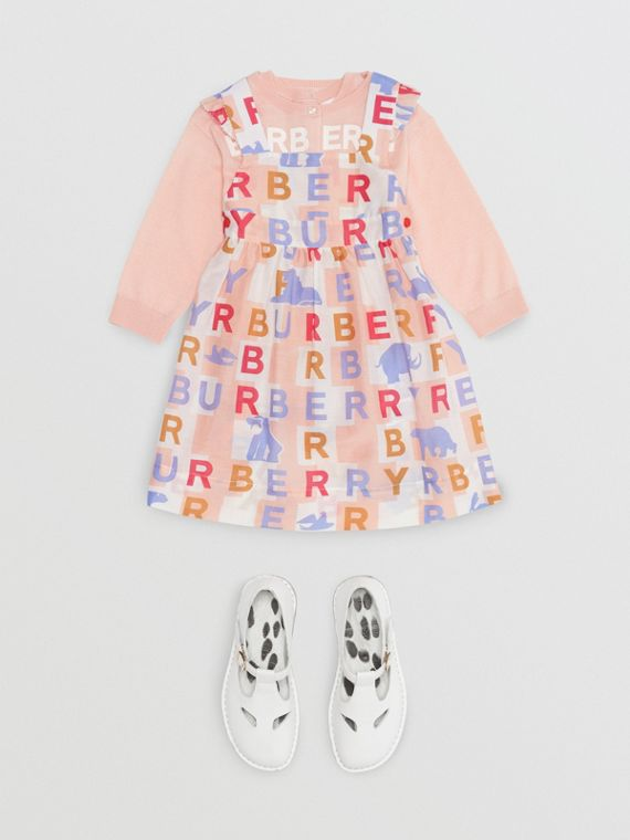 Ruffle Detail Logo Print Cotton Silk Dress in Pale Rose