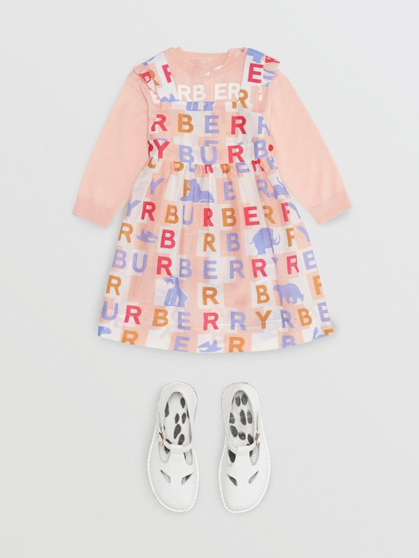 Ruffle Detail Logo Print Cotton Silk Dress in Pale Rose - Children | Burberry - cell image 2