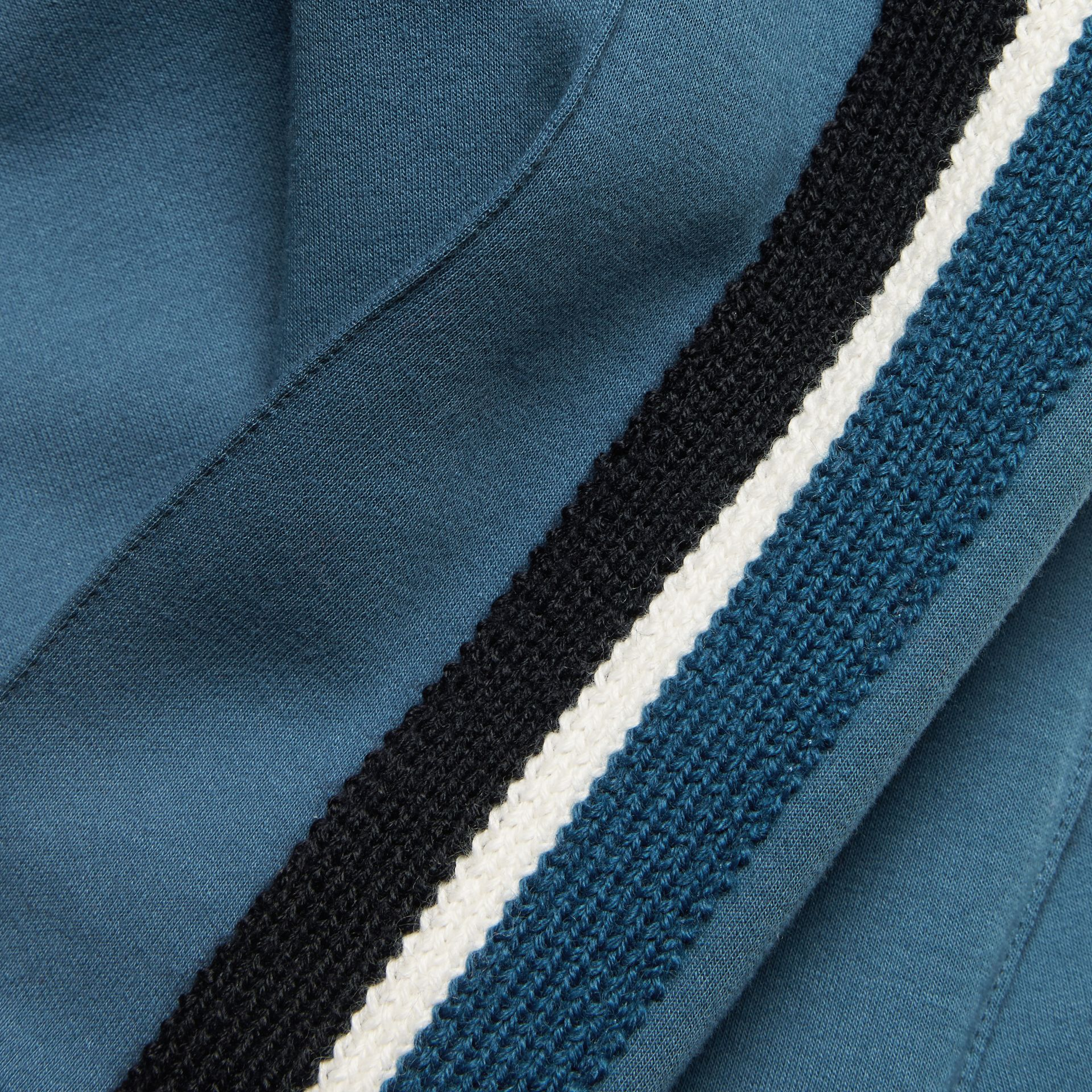 Sports-striped Cotton Blend Sweat Pants Mineral Blue - gallery image 2