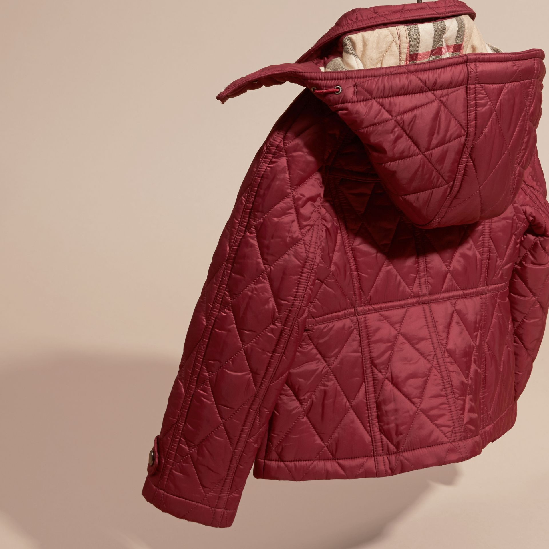 Dark plum pink Quilted Nylon Jacket with Detachable Hood - gallery image 4