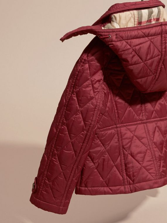 Dark plum pink Quilted Nylon Jacket with Detachable Hood - cell image 3
