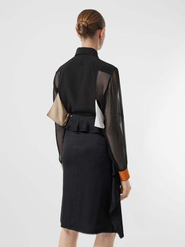 Colour Block Silk Shirt in Black - Women | Burberry - cell image 2