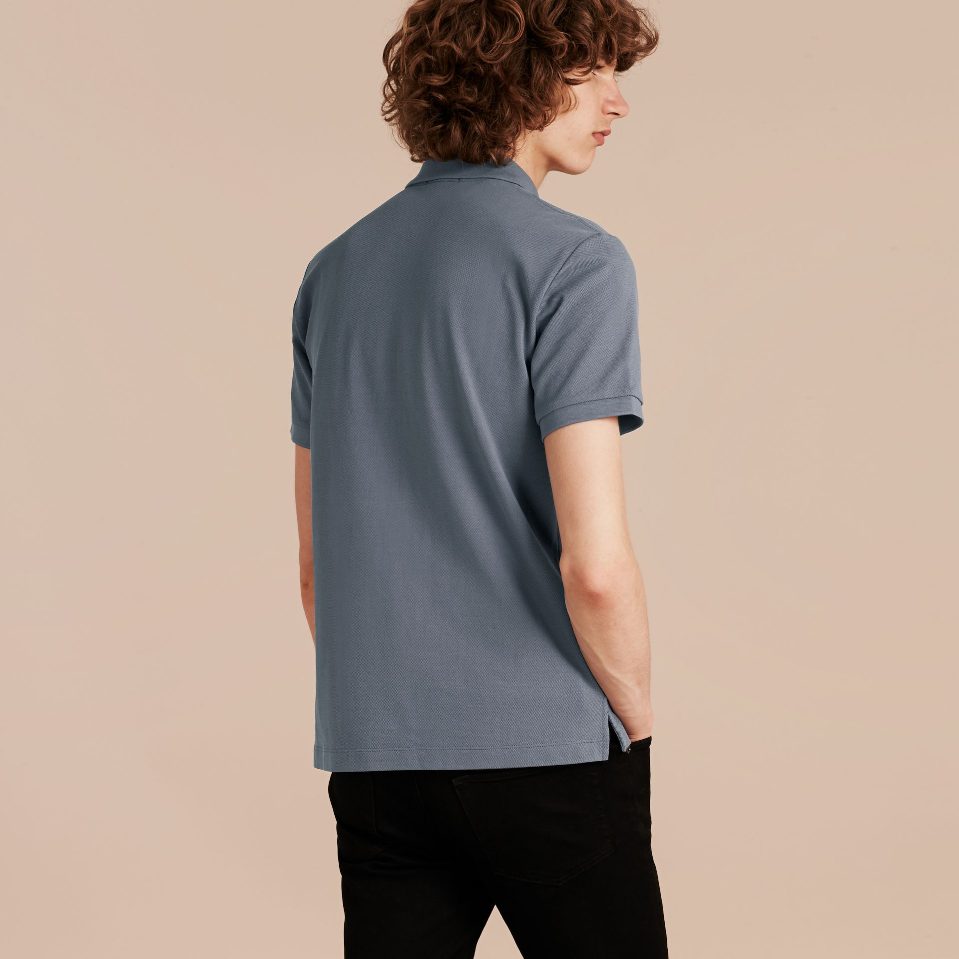 Check Placket Cotton Piqué Polo Shirt in Stone Blue - gallery image 3