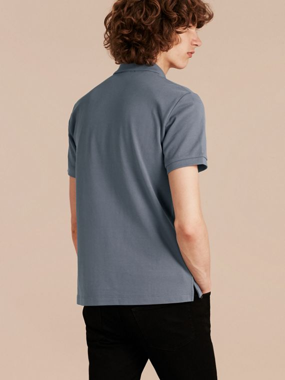 Check Placket Cotton Piqué Polo Shirt in Stone Blue - cell image 2