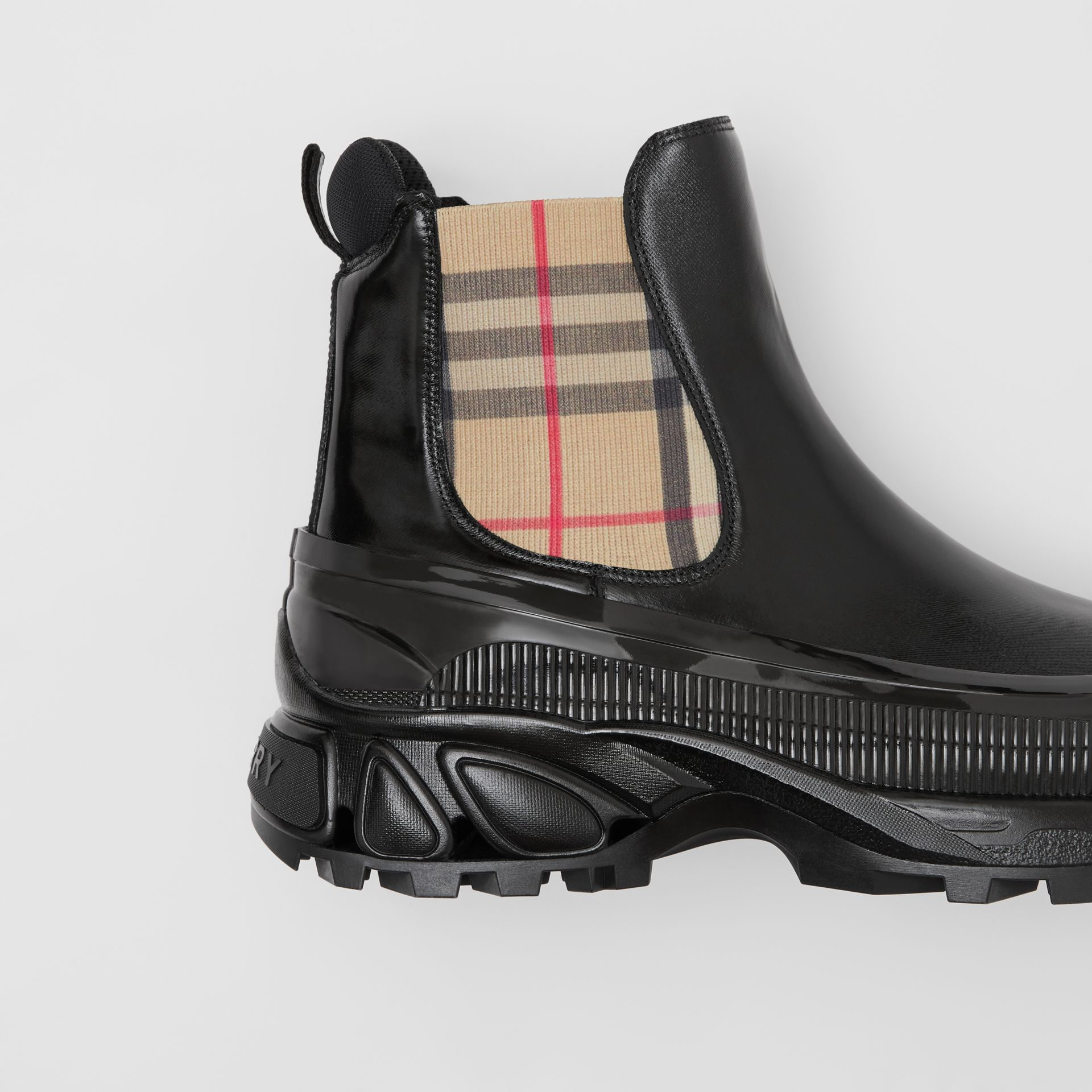 Vintage Check Detail Coated Canvas Chelsea Boots in Black - Men | Burberry - gallery image 1