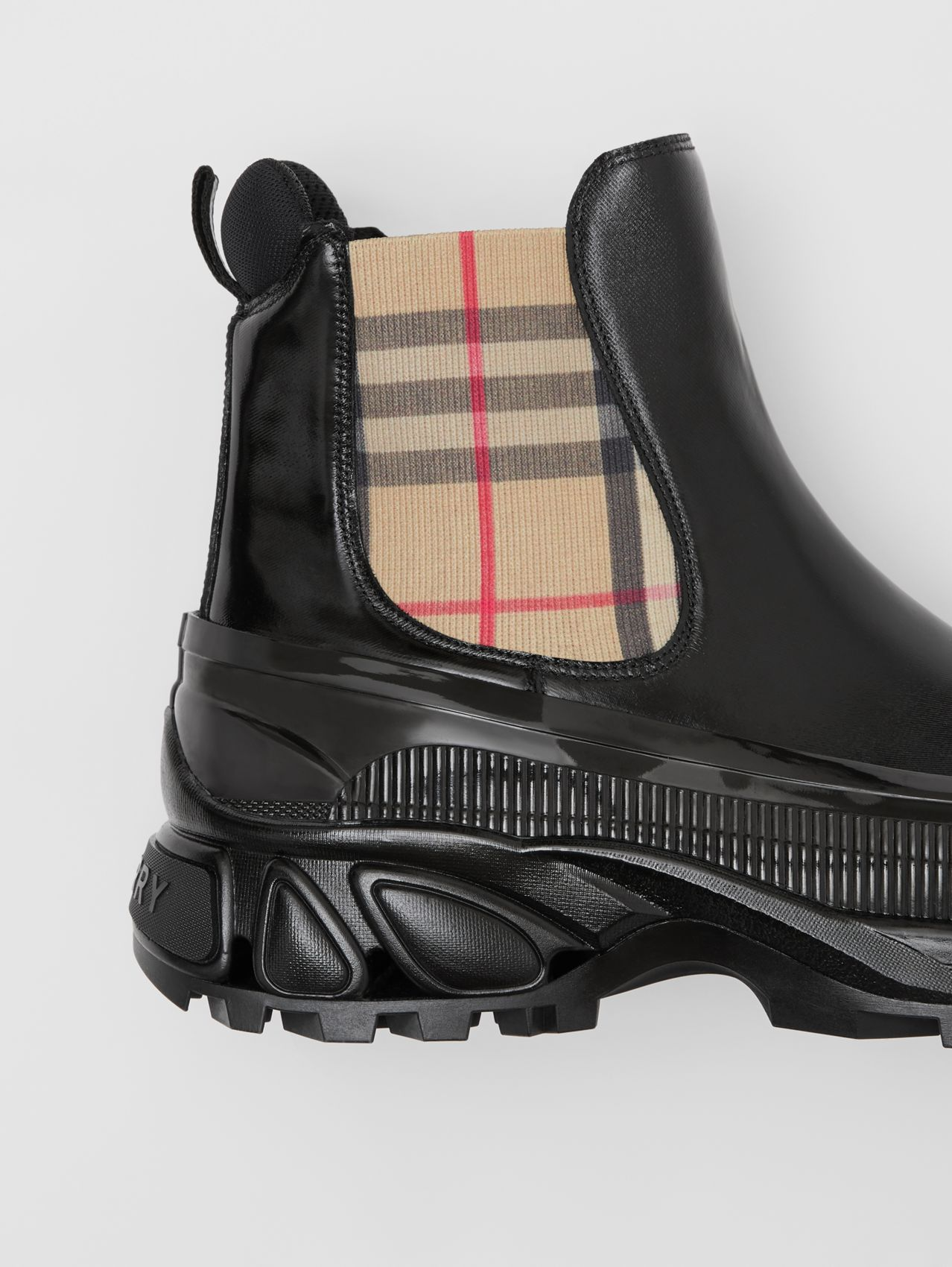 Vintage Check Detail Coated Canvas Chelsea Boots in Black