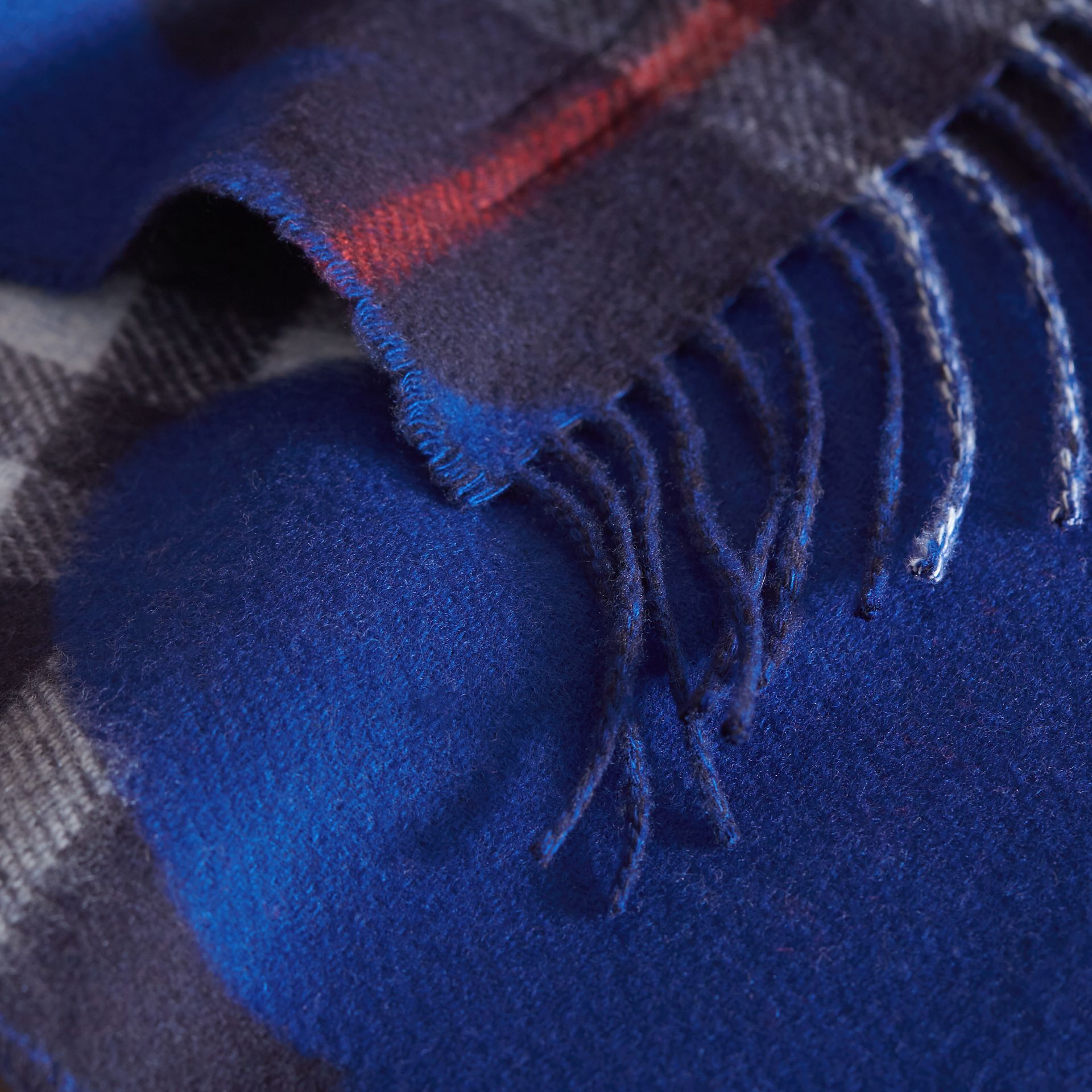 Reversible Weather Pattern Check Cashmere Mini Scarf in Bright Cobalt | Burberry - gallery image 1