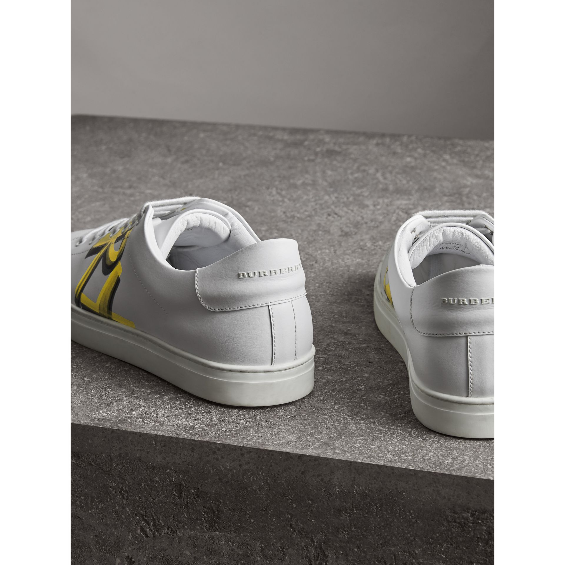 Logo Print Leather Sneakers in Optic White/yellow - Men | Burberry Australia - gallery image 3