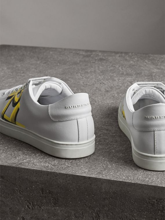 Logo Print Leather Sneakers in Optic White/yellow - Men | Burberry - cell image 3