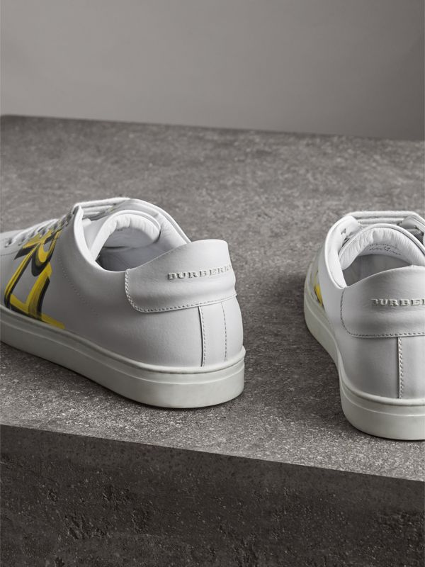 Logo Print Leather Sneakers in Optic White/yellow - Men | Burberry Australia - cell image 3