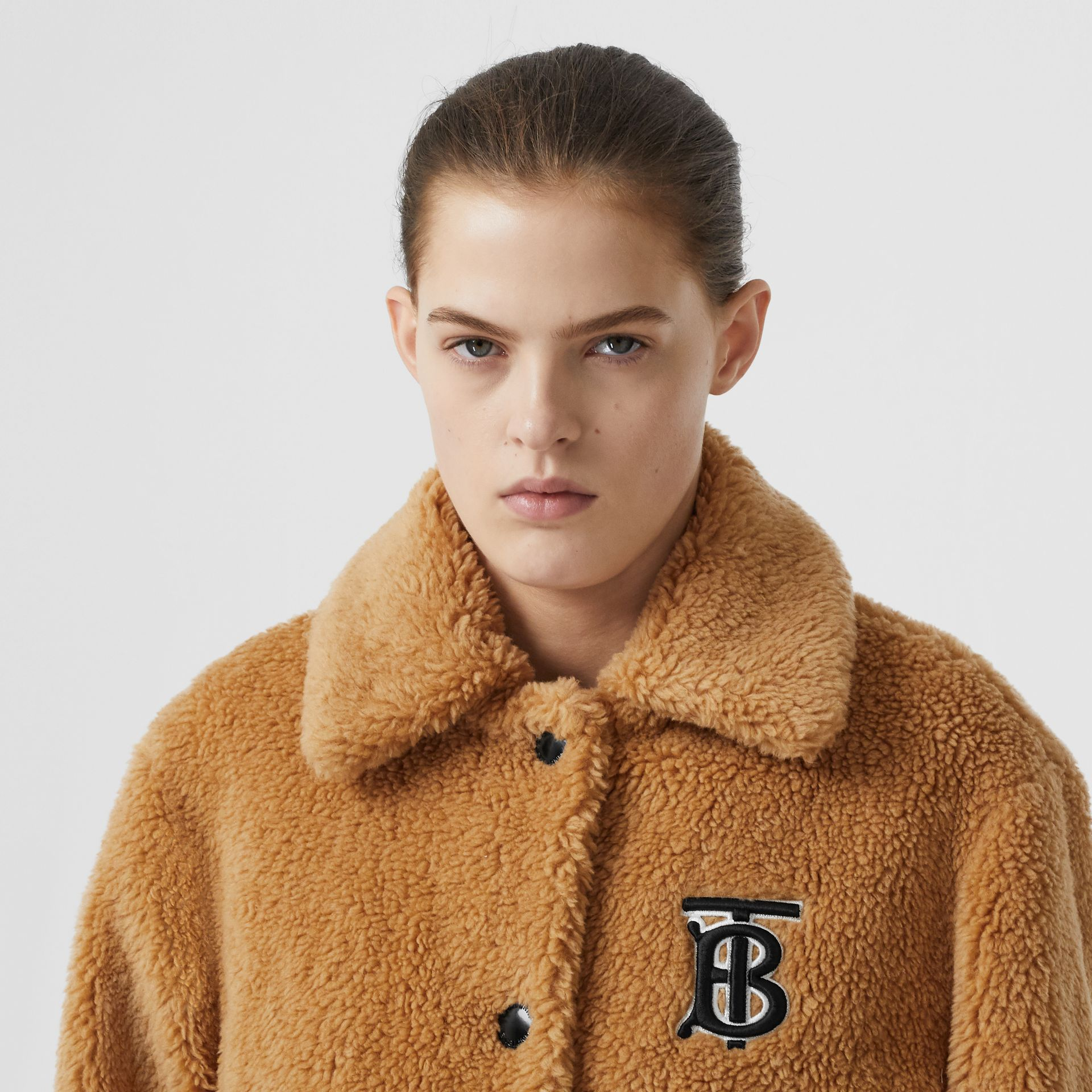 Monogram Motif Fleece Jacket in Camel - Women | Burberry - gallery image 1