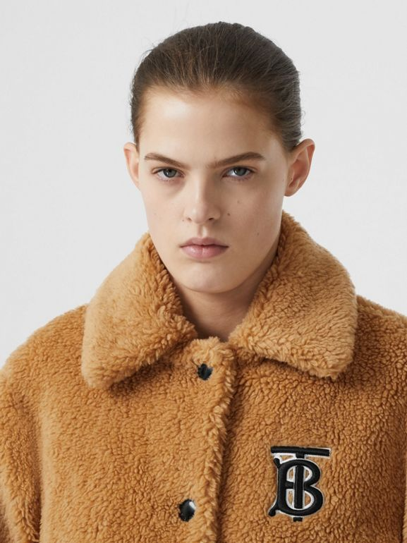Monogram Motif Fleece Jacket in Camel - Women | Burberry - cell image 1