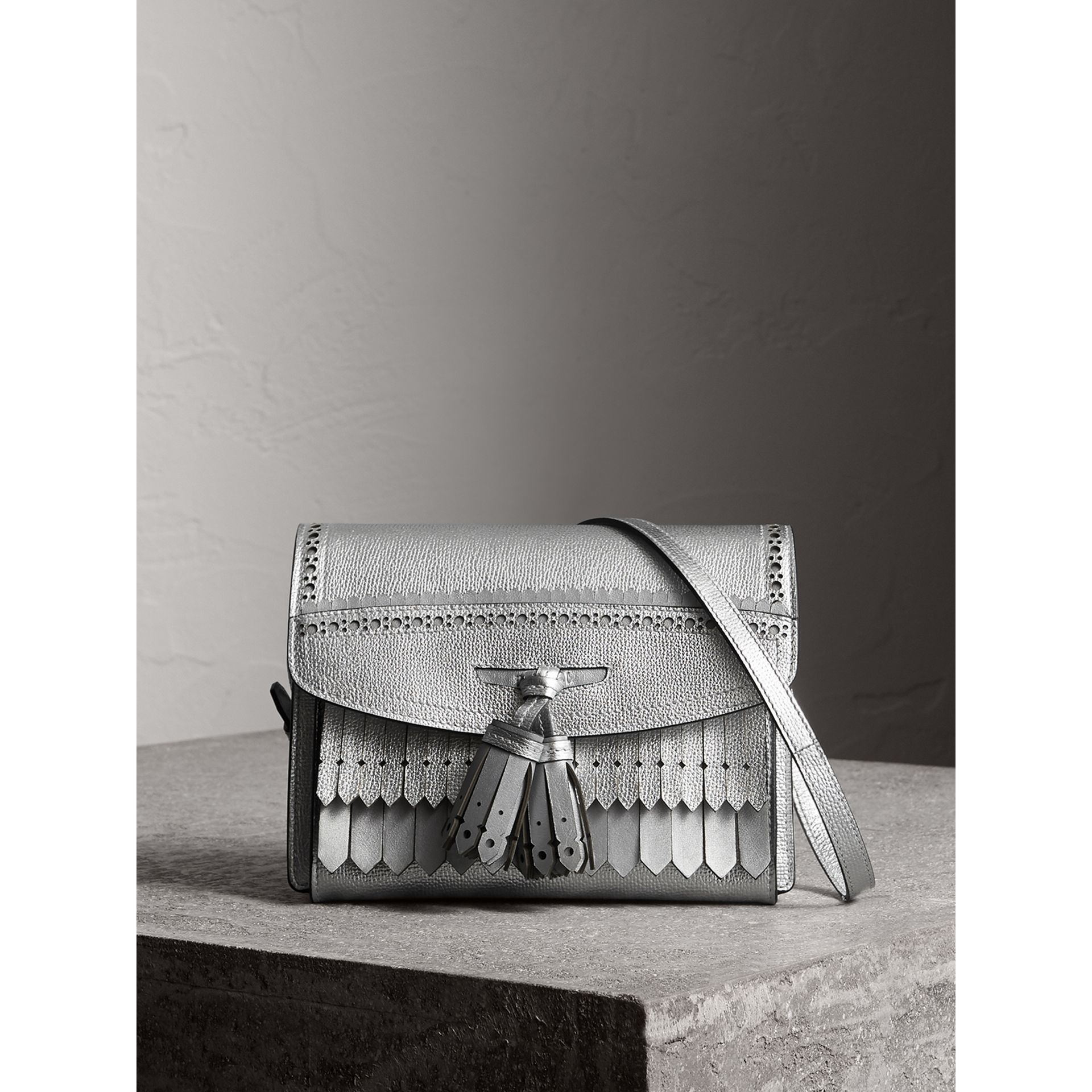 Brogue Detail Metallic Leather Crossbody Bag in Silver - Women | Burberry - gallery image 0