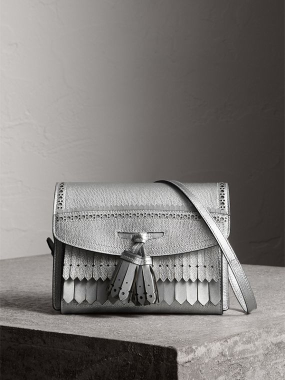Brogue Detail Metallic Leather Crossbody Bag in Silver