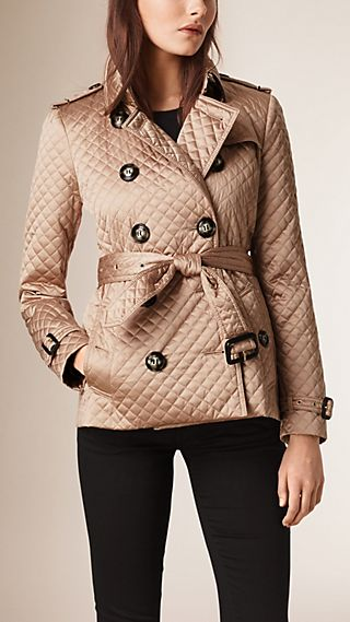 Diamond Quilted Trench Jacket