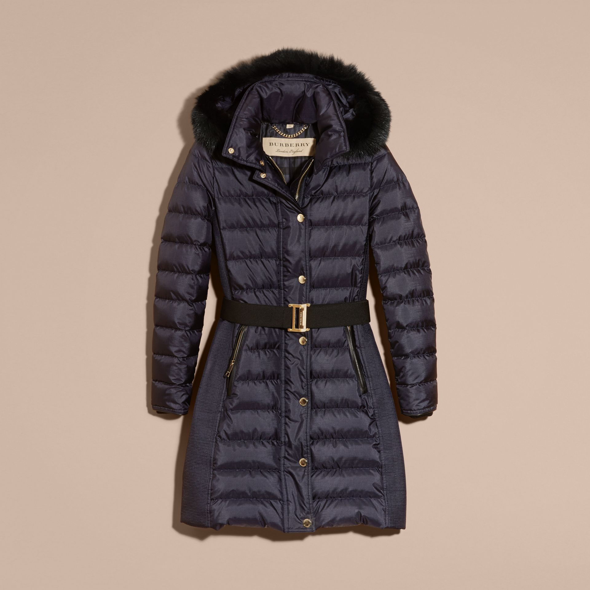 Navy Down-filled Coat with Fur-trimmed Hood Navy - gallery image 4