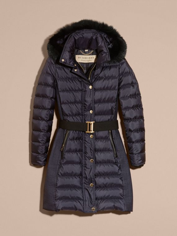 Navy Down-filled Coat with Fur-trimmed Hood Navy - cell image 3