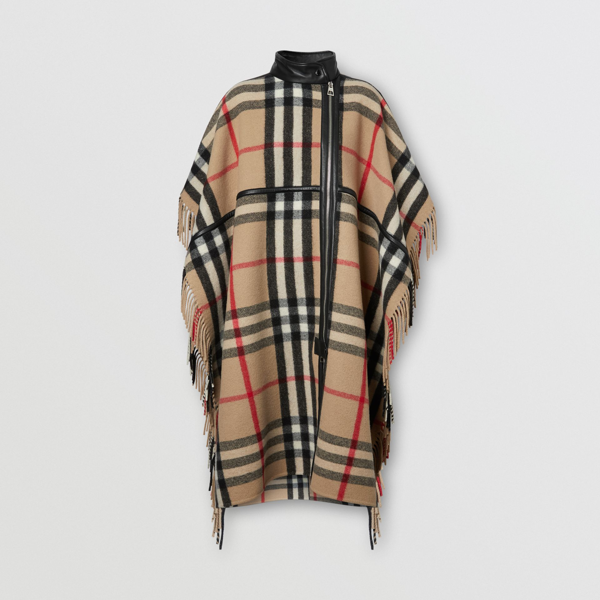 Check Wool Blend Zip-front Cape in Archive Beige | Burberry Australia - gallery image 3