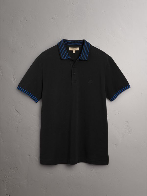 Knitted Detail Cotton Piqué Polo Shirt in Black - Men | Burberry - cell image 2