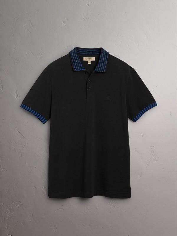 Polo in cotone piqué con dettaglio lavorato a maglia (Nero) - Uomo | Burberry - cell image 2