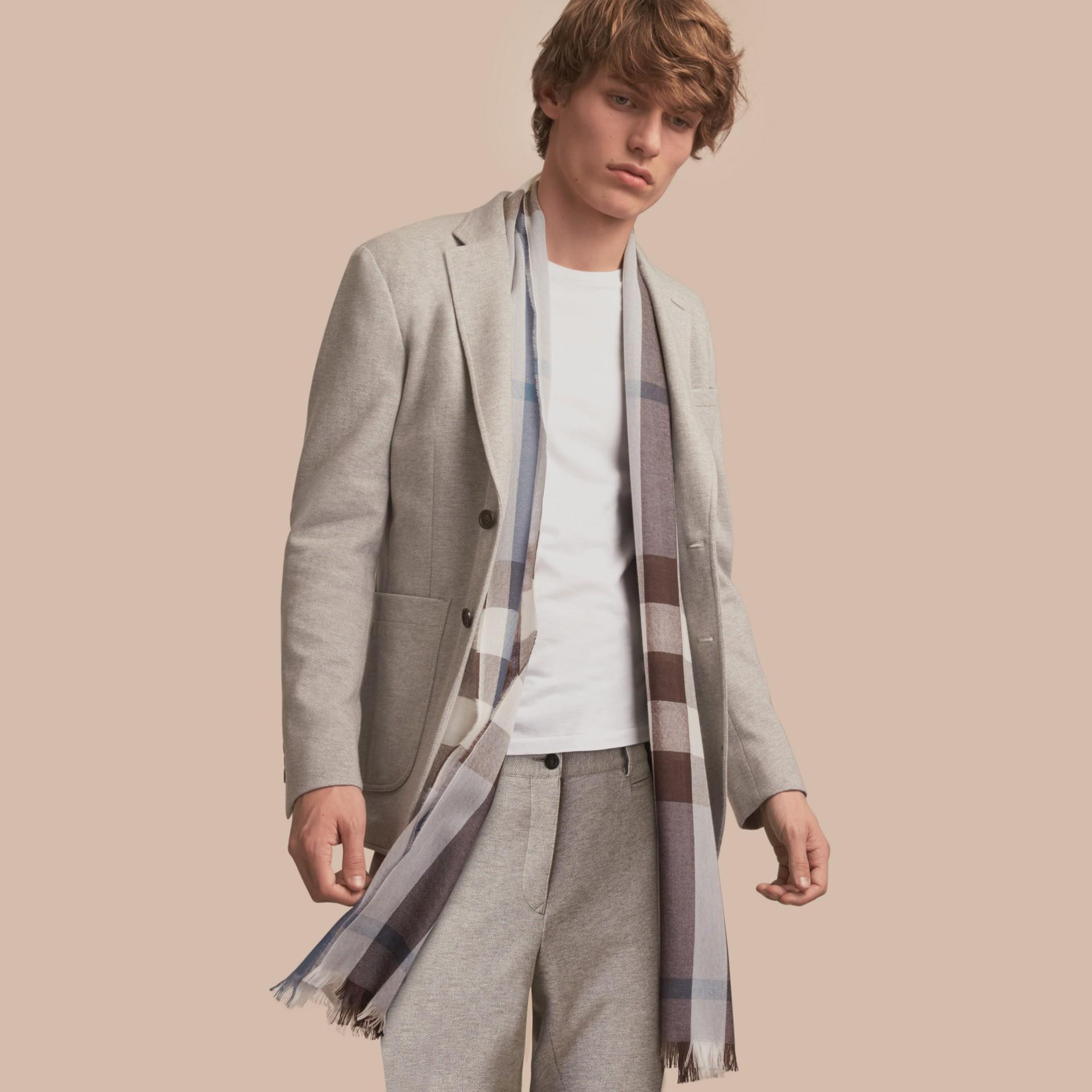 Herringbone Cotton Blend Jersey Blazer - gallery image 1