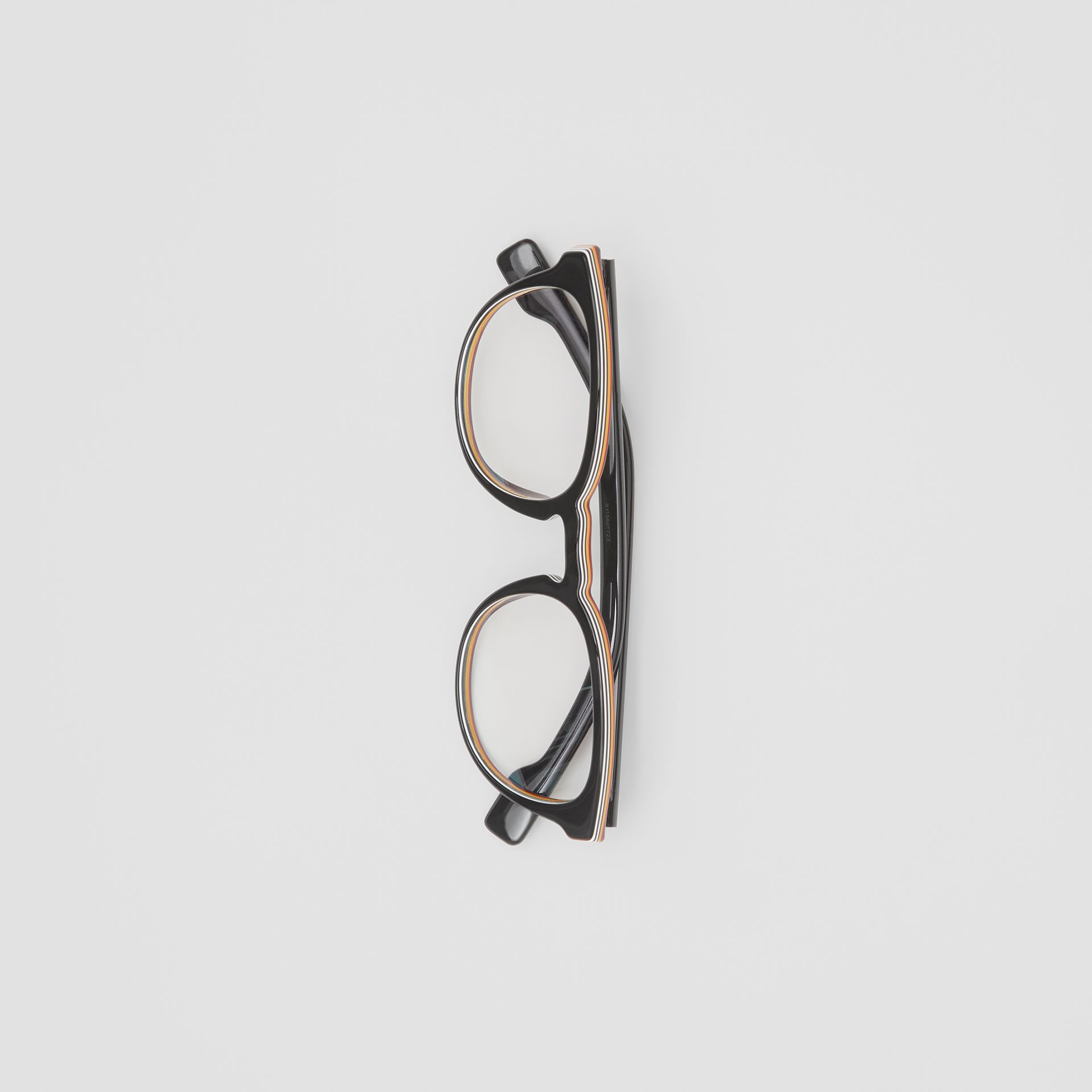 Icon Stripe Detail Round Optical Frames in Black - Men | Burberry United Kingdom - gallery image 2