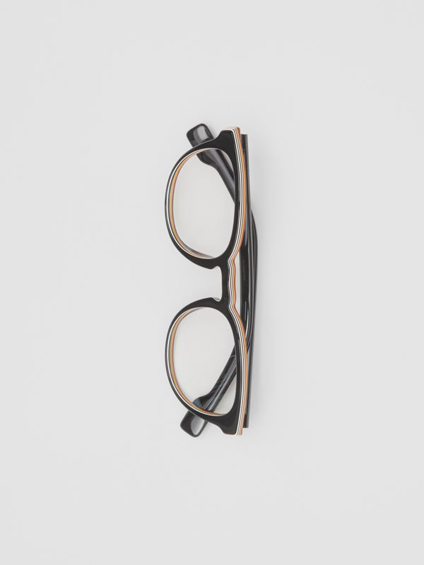 Icon Stripe Detail Round Optical Frames in Black - Men | Burberry - cell image 2
