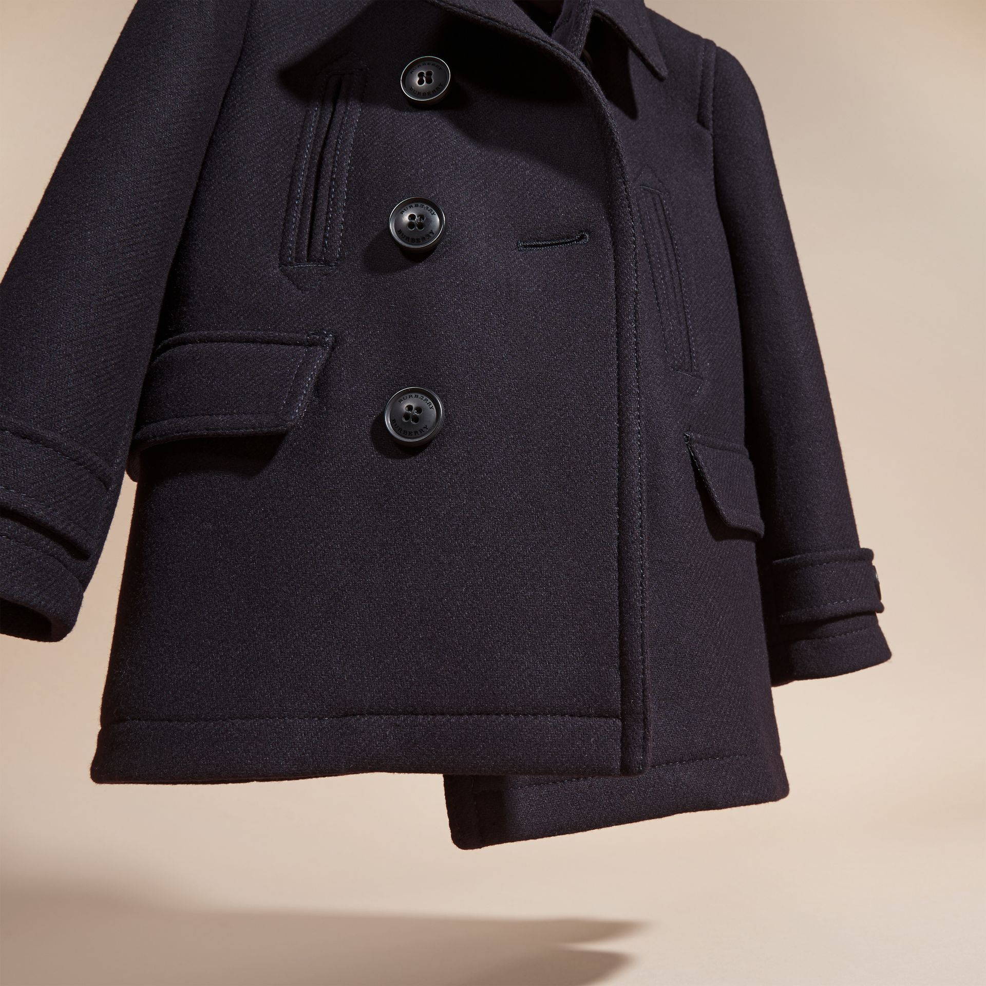 Navy Wool Blend Pea Coat - gallery image 3
