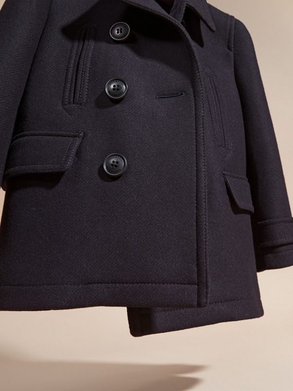 Navy Wool Blend Pea Coat - cell image 2