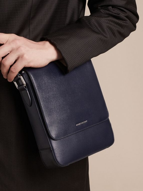 London Leather Crossbody Bag in Dark Navy - Men | Burberry - cell image 2