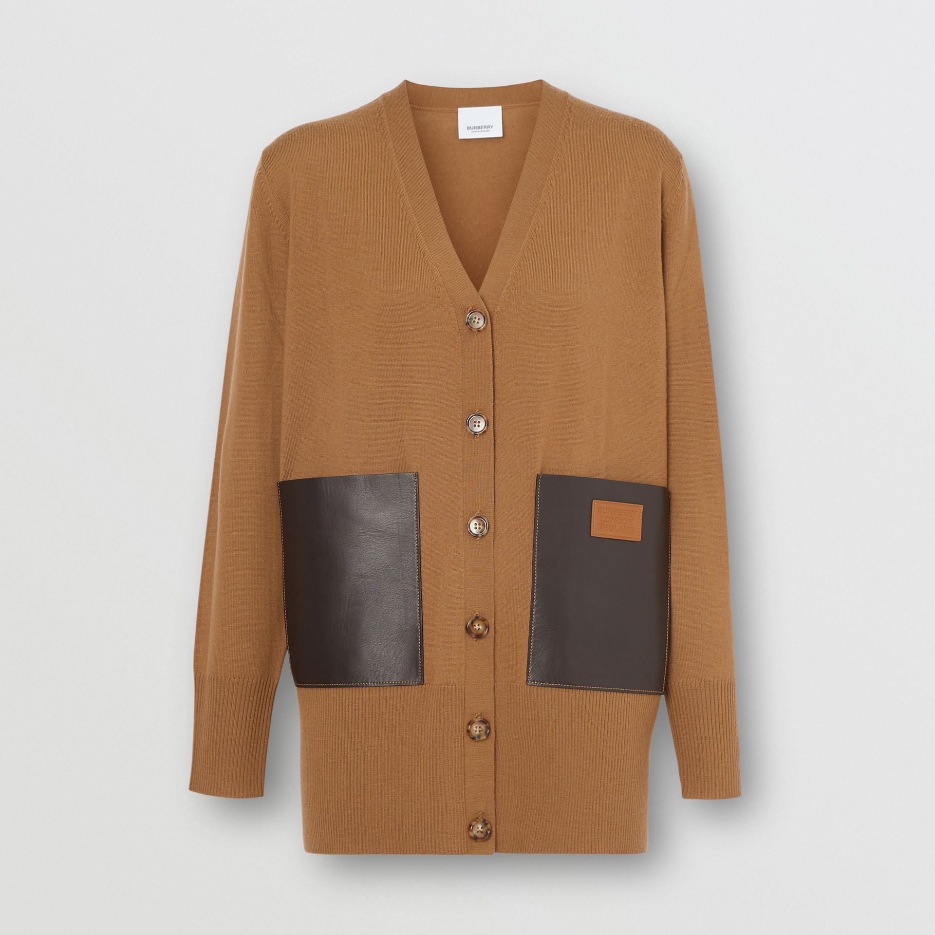 Lambskin Pocket Merino Wool Cardigan in Warm Walnut - Women | Burberry - gallery image 2