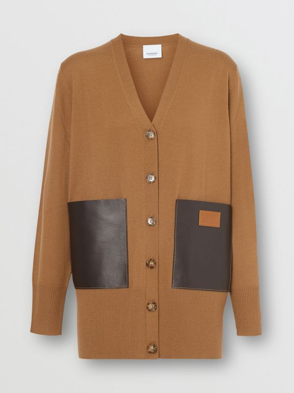 Lambskin Pocket Merino Wool Cardigan in Warm Walnut - Women | Burberry - cell image 2