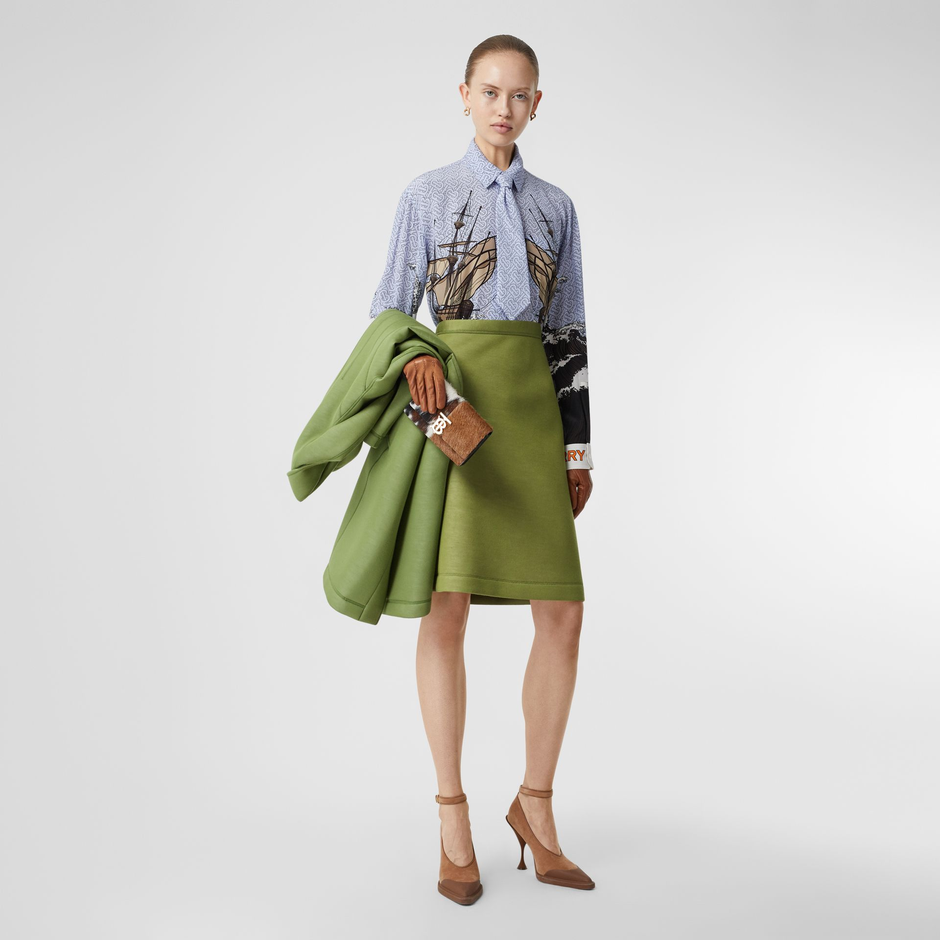 Double-faced Neoprene Skirt in Cedar Green - Women | Burberry - gallery image 0