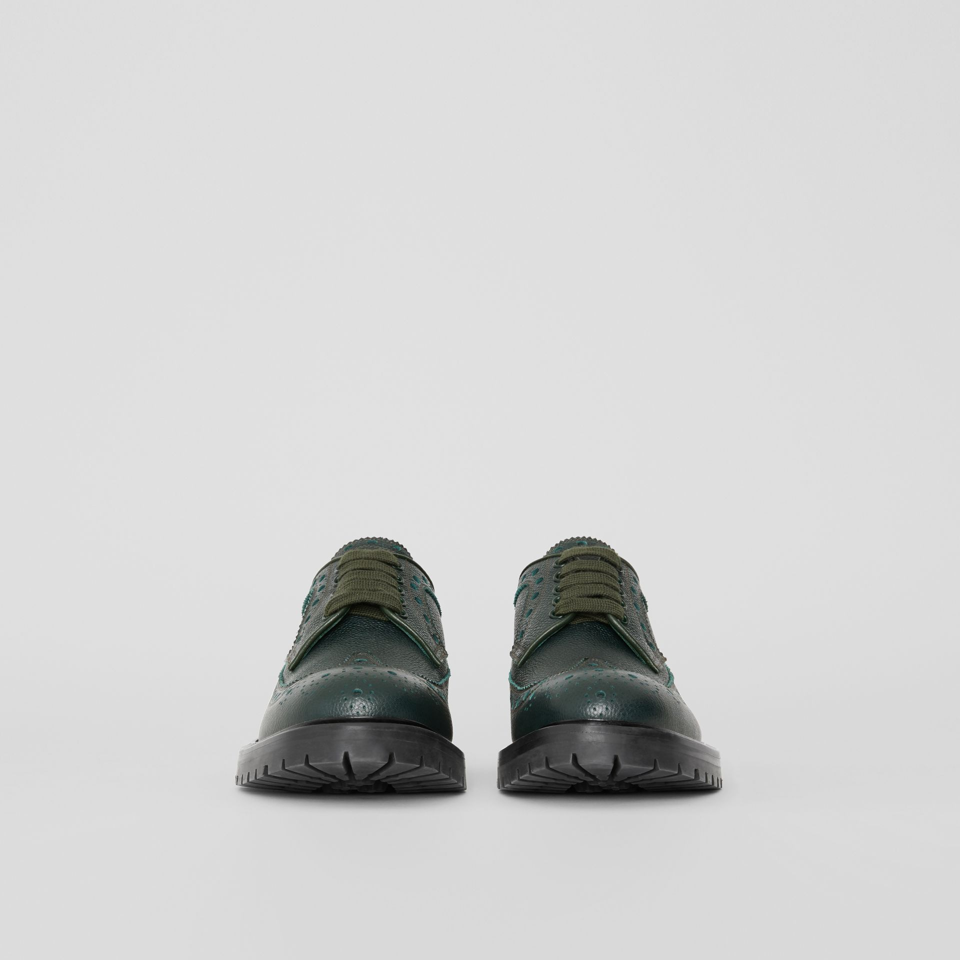 Brogue Detail Grainy Leather Derby Shoes in Deep Viridian Green - Men | Burberry Singapore - gallery image 3
