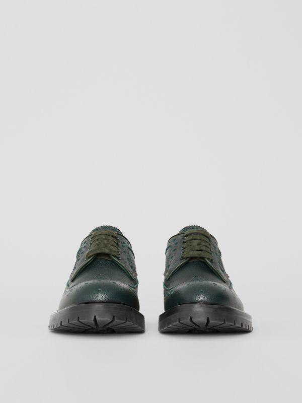 Brogue Detail Grainy Leather Derby Shoes in Deep Viridian Green - Men | Burberry Singapore - cell image 3