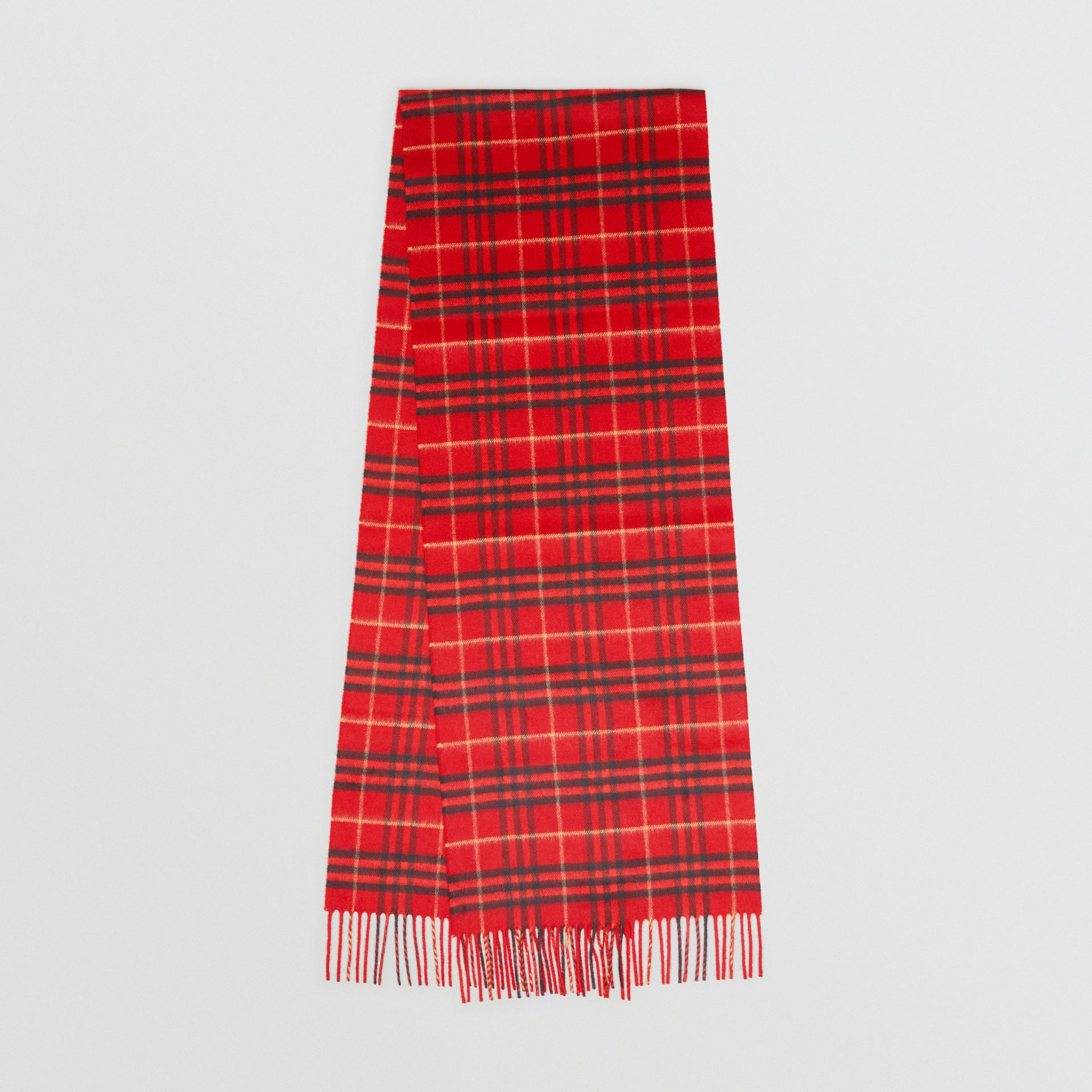 The Classic Vintage Check Cashmere Scarf in Military Red | Burberry - gallery image 0