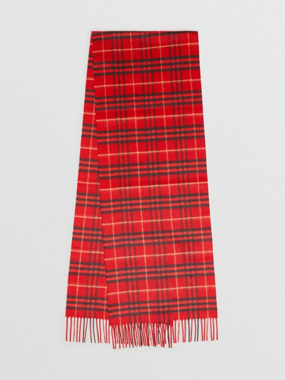 The Classic Vintage Check Cashmere Scarf in Military Red