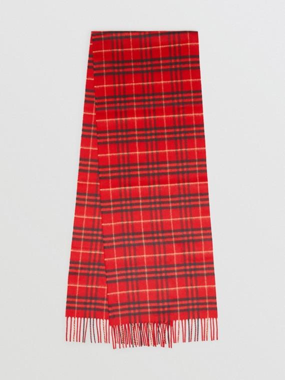 Écharpe classique en cachemire à motif Vintage check (Rouge Militaire)