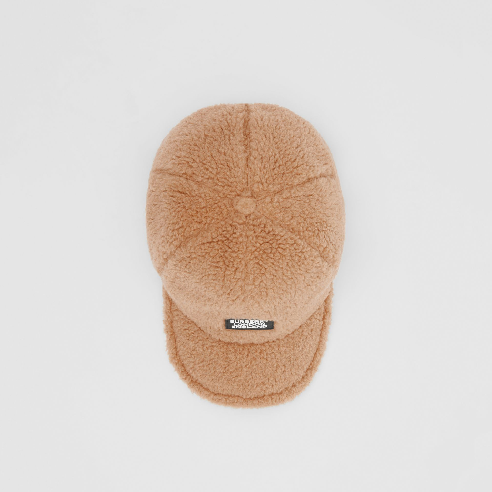 Logo Detail Faux Fur Baseball Cap in Camel | Burberry - gallery image 0