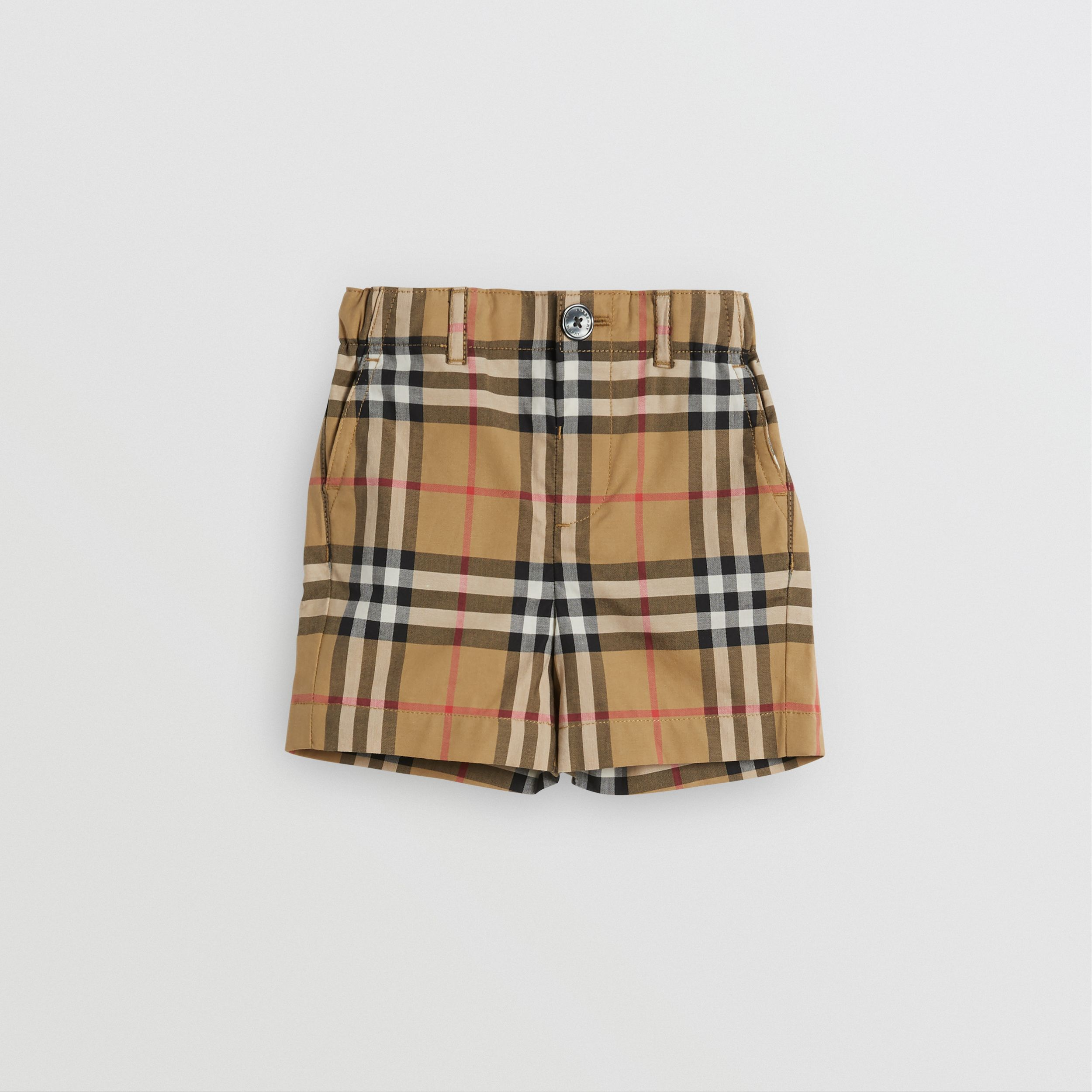 Vintage Check Cotton Tailored Shorts in Antique Yellow - Children | Burberry - 1