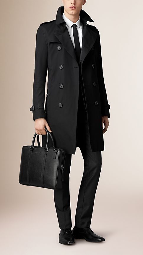 Black London Leather Crossbody Briefcase - Image 2