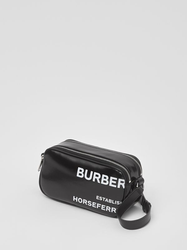 Mini Horseferry Print Coated Canvas Camera Bag in Black | Burberry United Kingdom - cell image 2