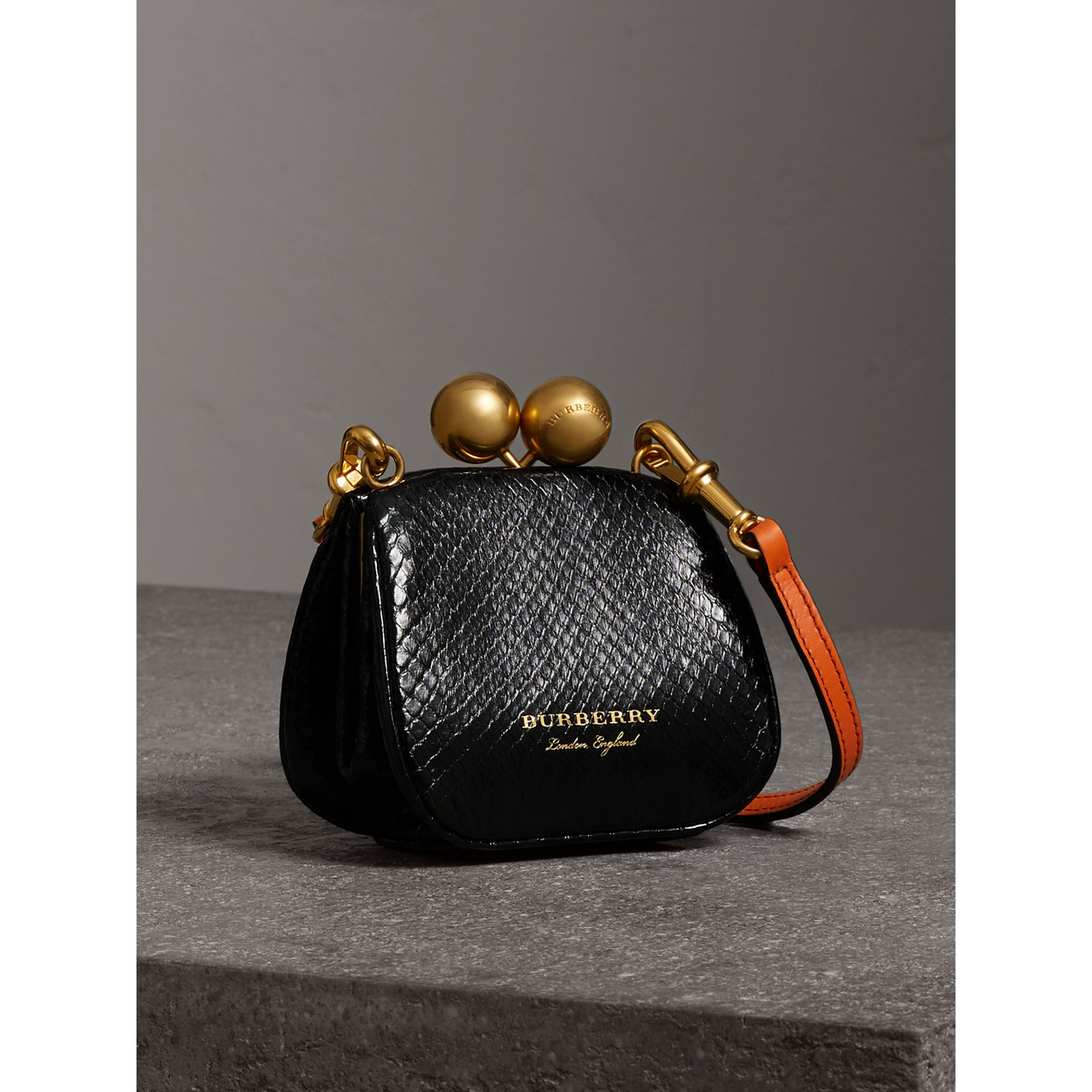 Mini Two-tone Python Frame Bag in Black - Women | Burberry - gallery image 6