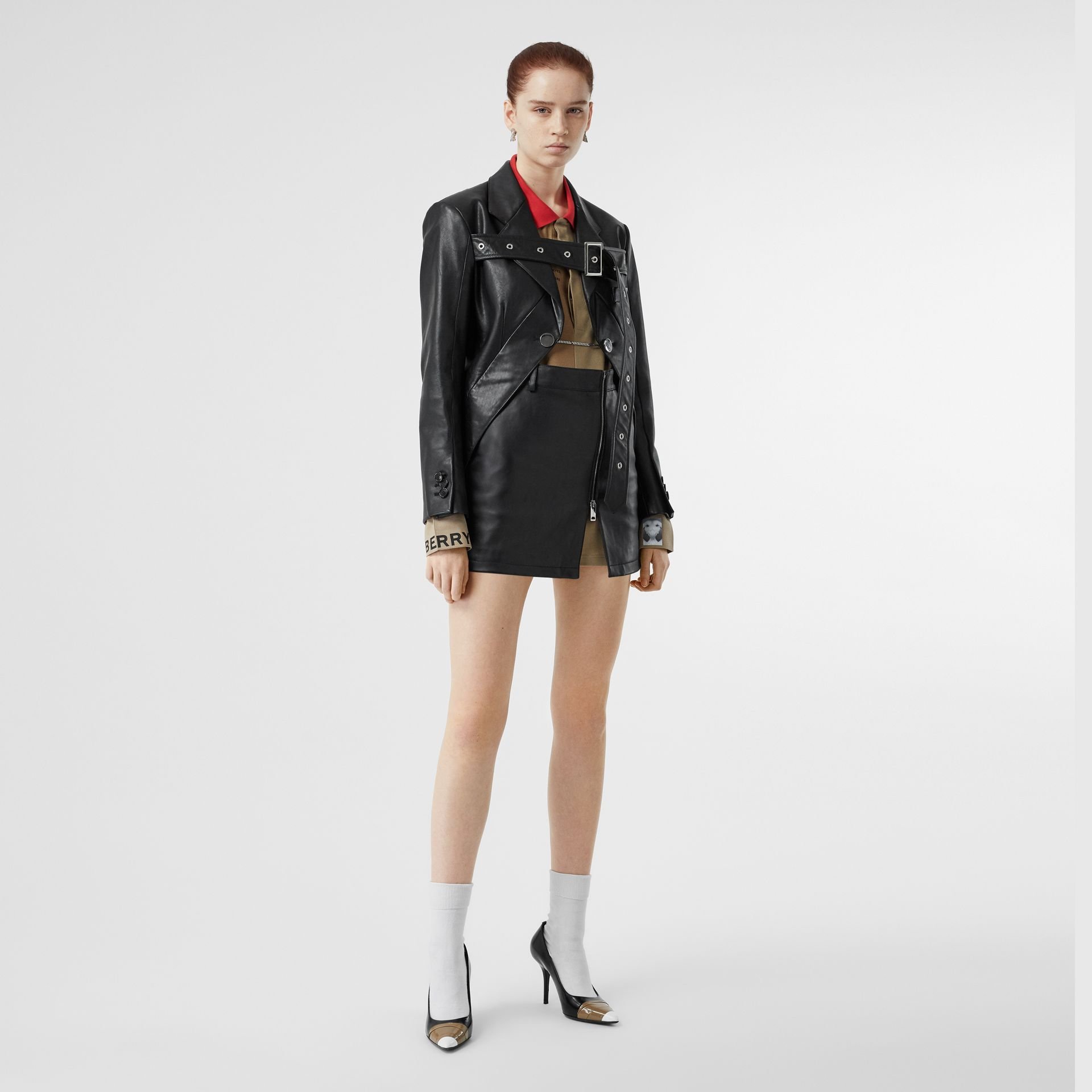 Zip-front Leather Mini Skirt in Black - Women | Burberry - gallery image 0