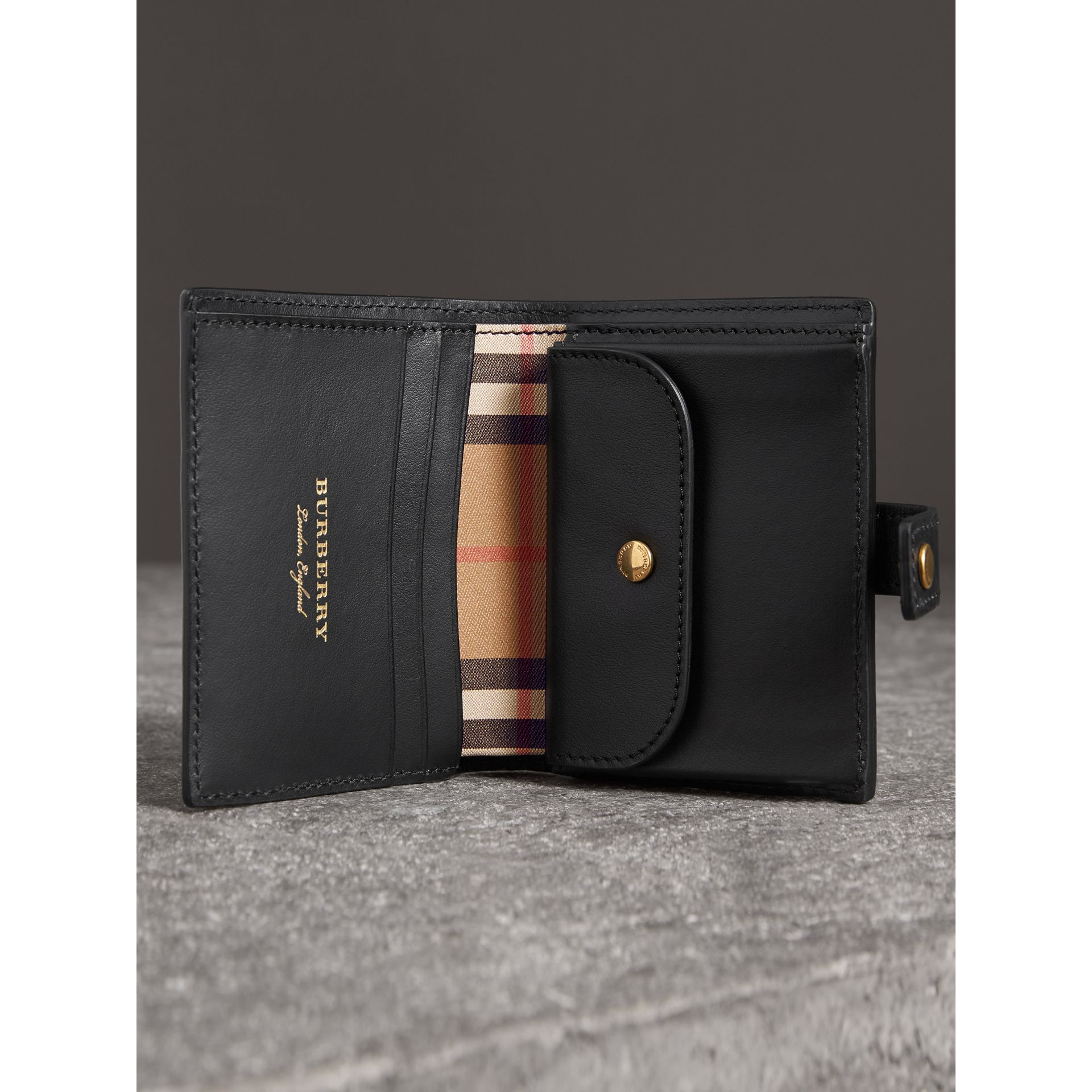 Small Vintage Check and Leather Folding Wallet in Black - Women | Burberry Hong Kong - gallery image 3