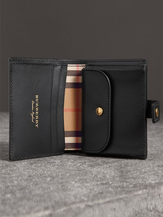 Small Vintage Check and Leather Folding Wallet in Black - Women | Burberry Canada - cell image 3