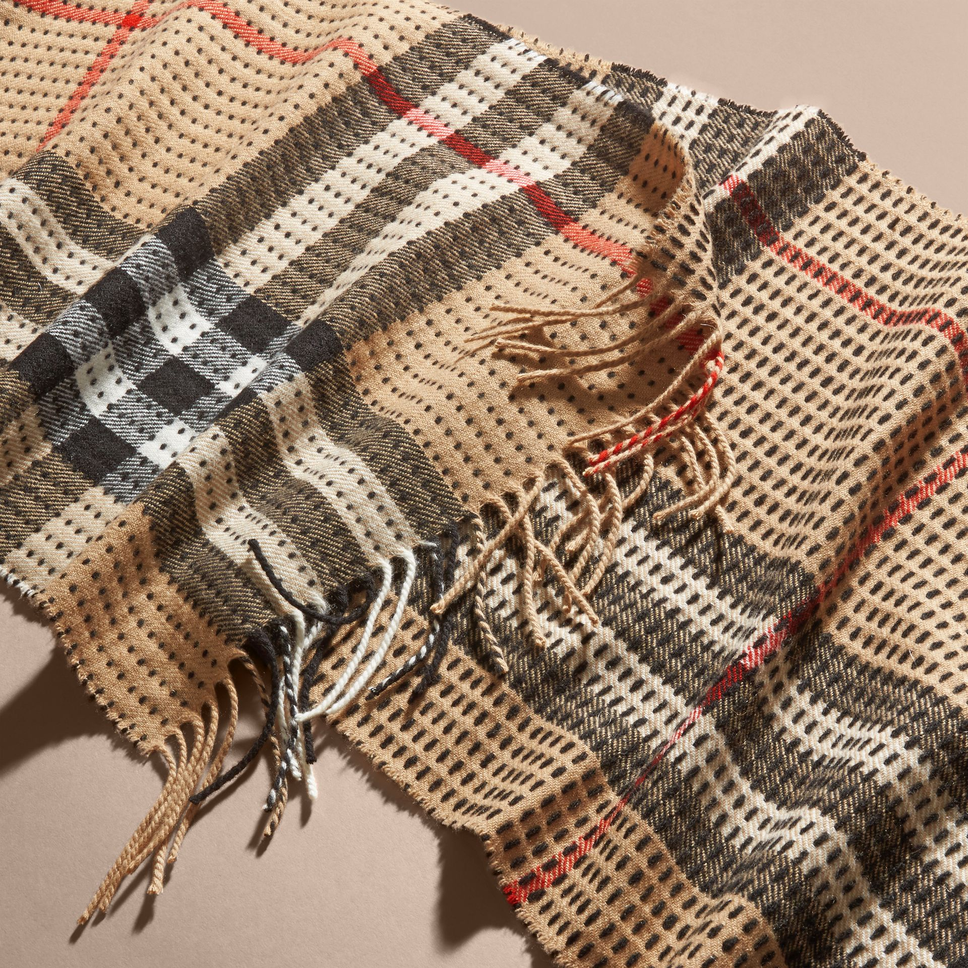 Camel check The Classic Cashmere Scarf in Check with Topstitch Detail Camel - gallery image 5