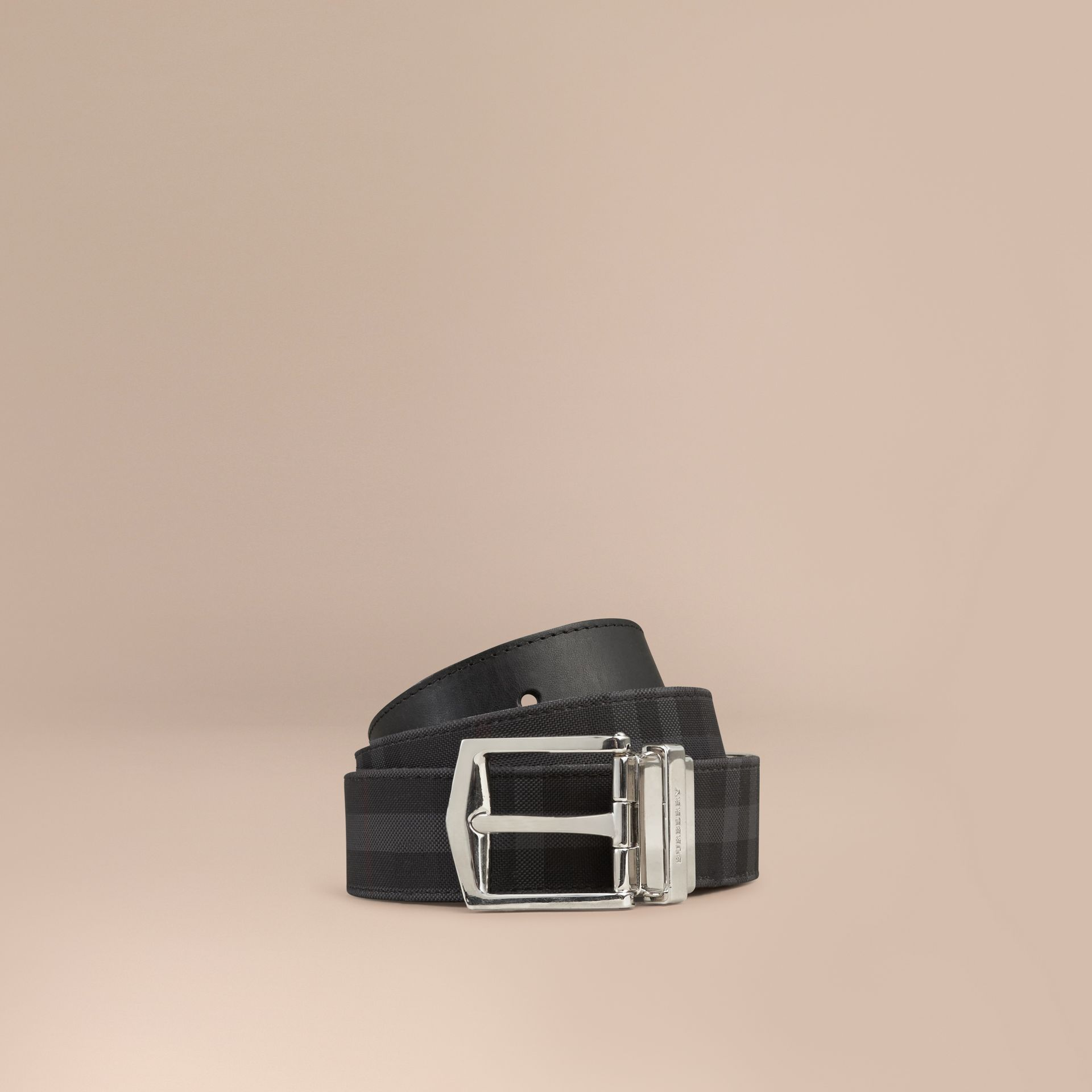 Reversible Horseferry Check and Leather Belt Charcoal/black - gallery image 1
