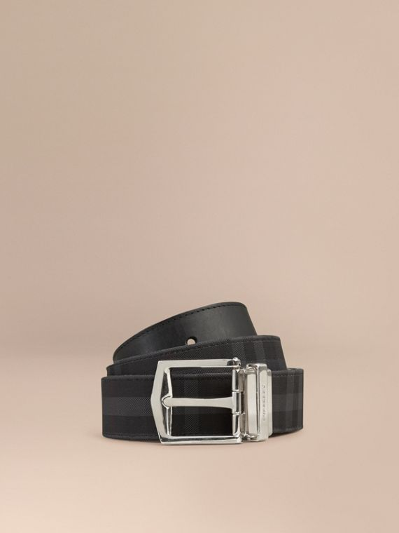 Reversible Horseferry Check and Leather Belt in Charcoal/black