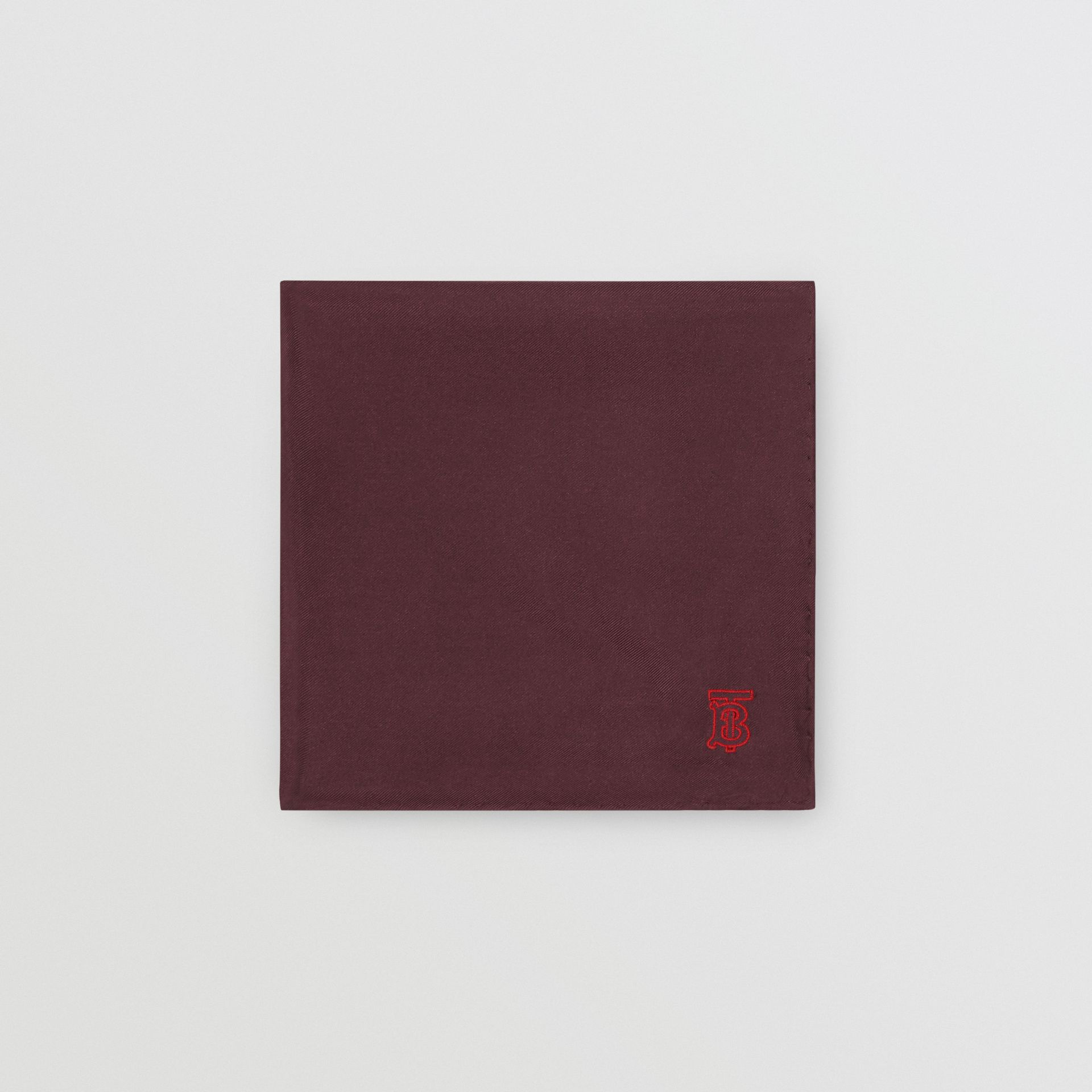 Monogram Motif Silk Pocket Square in Burgundy - Men | Burberry - gallery image 0